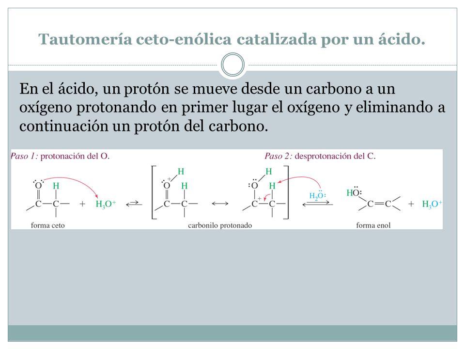 Tautomería ceto-enólica catalizada por un ácido. En el ácido, un protón se mueve desde un carbono a un oxígeno protonando en primer lugar el oxígeno y