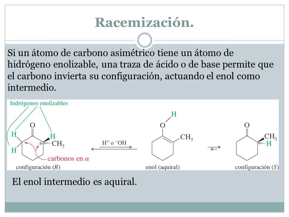 Racemización. Si un átomo de carbono asimétrico tiene un átomo de hidrógeno enolizable, una traza de ácido o de base permite que el carbono invierta s