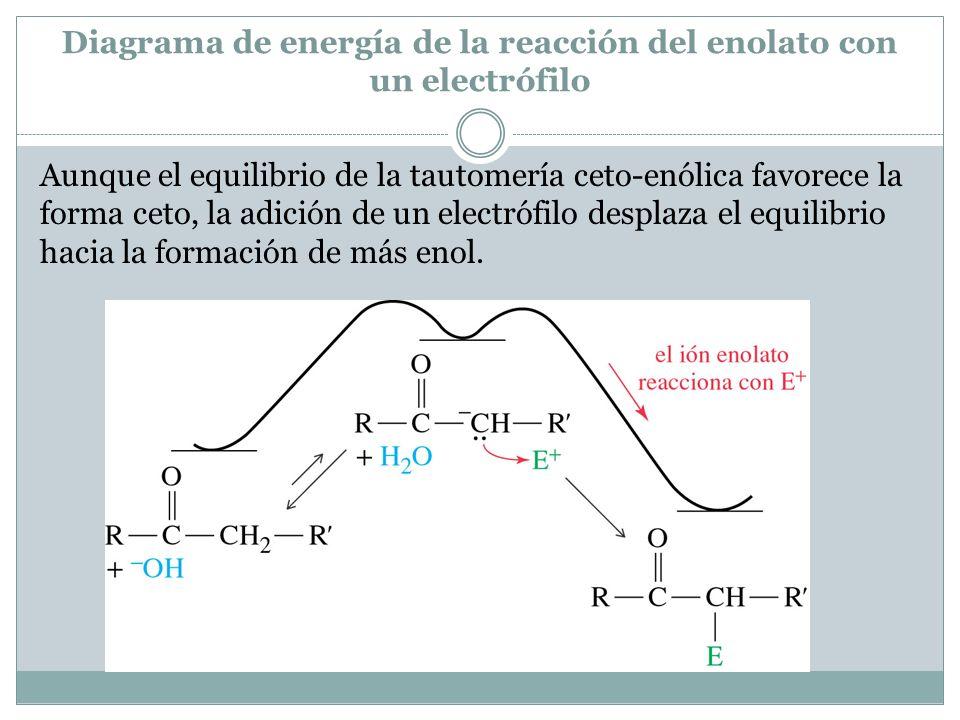 Diagrama de energía de la reacción del enolato con un electrófilo Aunque el equilibrio de la tautomería ceto-enólica favorece la forma ceto, la adició
