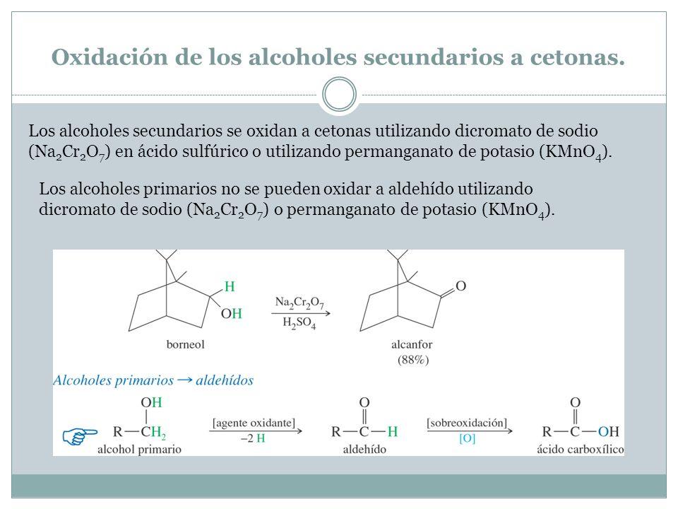 Oxidación de los alcoholes secundarios a cetonas. Los alcoholes secundarios se oxidan a cetonas utilizando dicromato de sodio (Na 2 Cr 2 O 7 ) en ácid