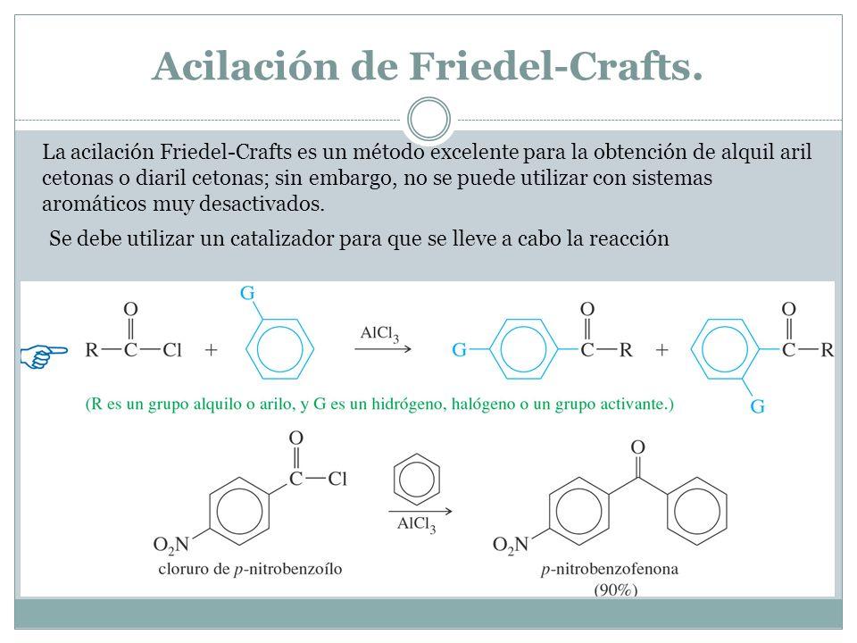 Acilación de Friedel-Crafts. La acilación Friedel-Crafts es un método excelente para la obtención de alquil aril cetonas o diaril cetonas; sin embargo