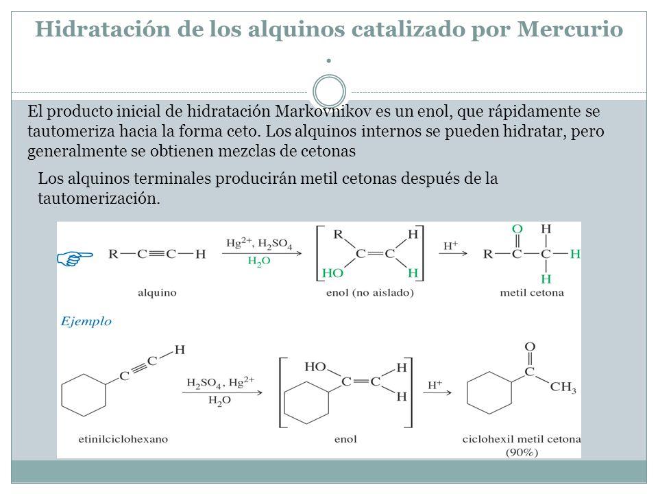 Hidratación de los alquinos catalizado por Mercurio. El producto inicial de hidratación Markovnikov es un enol, que rápidamente se tautomeriza hacia l