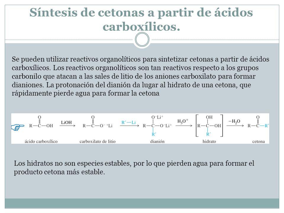 Síntesis de cetonas a partir de ácidos carboxílicos. Se pueden utilizar reactivos organolíticos para sintetizar cetonas a partir de ácidos carboxílico