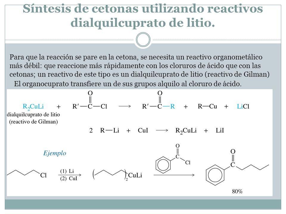 Síntesis de cetonas utilizando reactivos dialquilcuprato de litio. Para que la reacción se pare en la cetona, se necesita un reactivo organometálico m
