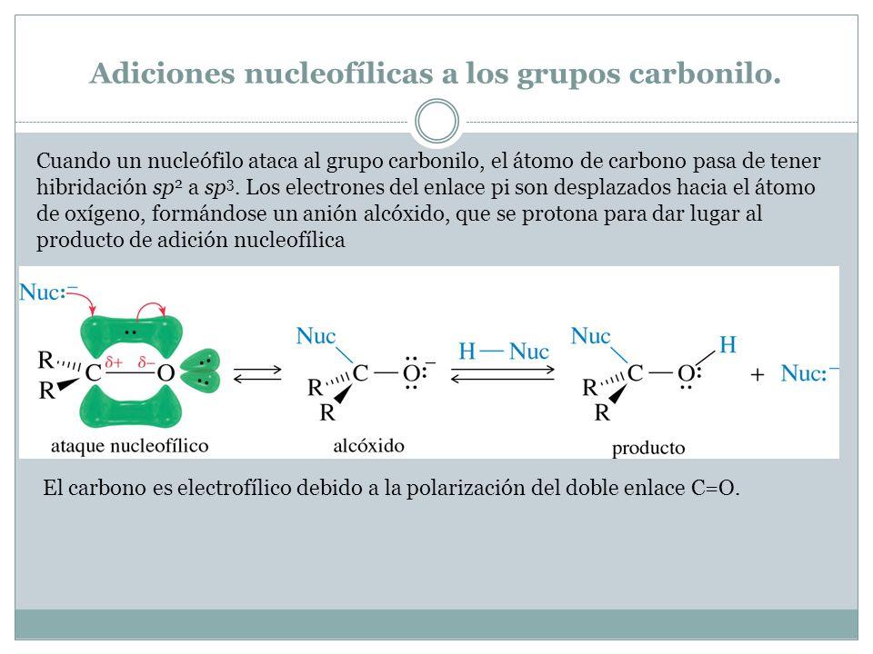 Adiciones nucleofílicas a los grupos carbonilo. Cuando un nucleófilo ataca al grupo carbonilo, el átomo de carbono pasa de tener hibridación sp 2 a sp
