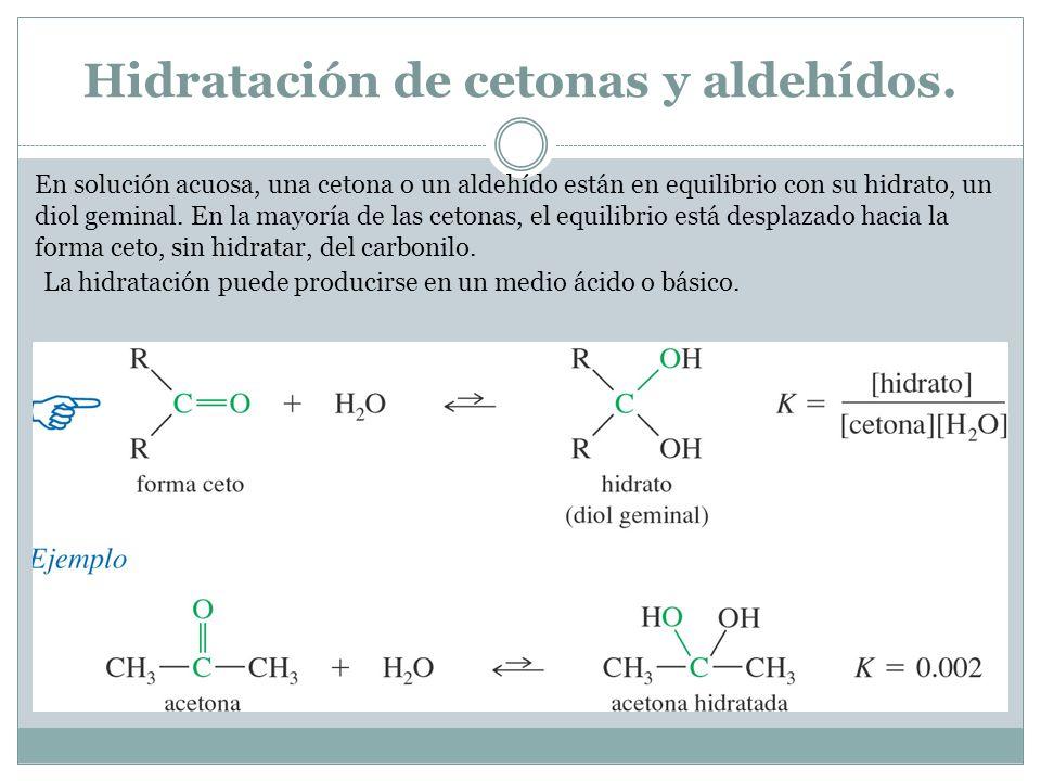 Hidratación de cetonas y aldehídos. En solución acuosa, una cetona o un aldehído están en equilibrio con su hidrato, un diol geminal. En la mayoría de