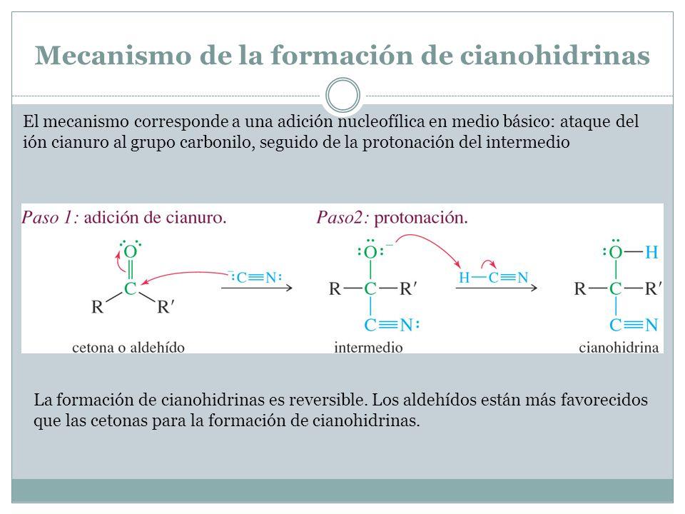 Mecanismo de la formación de cianohidrinas El mecanismo corresponde a una adición nucleofílica en medio básico: ataque del ión cianuro al grupo carbon