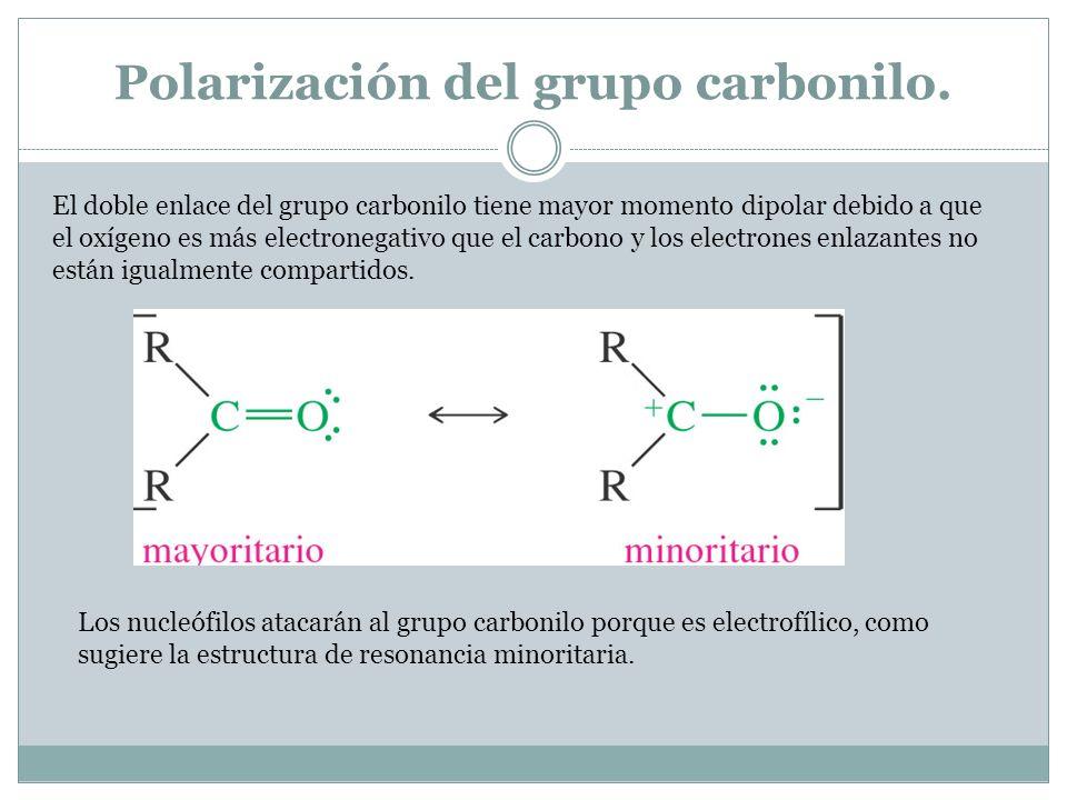 Polarización del grupo carbonilo. El doble enlace del grupo carbonilo tiene mayor momento dipolar debido a que el oxígeno es más electronegativo que e