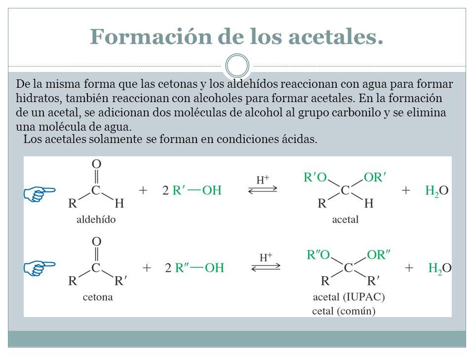 Formación de los acetales. De la misma forma que las cetonas y los aldehídos reaccionan con agua para formar hidratos, también reaccionan con alcohole