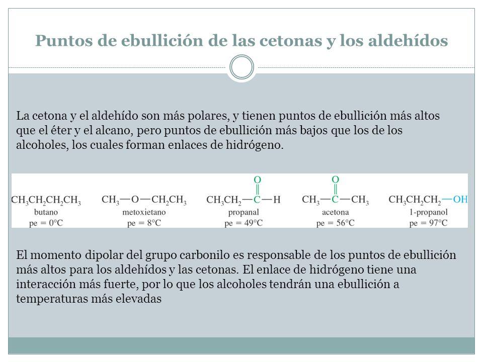 Puntos de ebullición de las cetonas y los aldehídos La cetona y el aldehído son más polares, y tienen puntos de ebullición más altos que el éter y el
