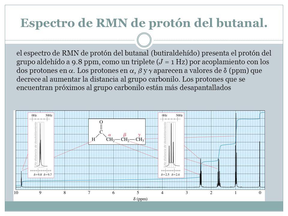 Espectro de RMN de protón del butanal. el espectro de RMN de protón del butanal (butiraldehído) presenta el protón del grupo aldehído a 9.8 ppm, como