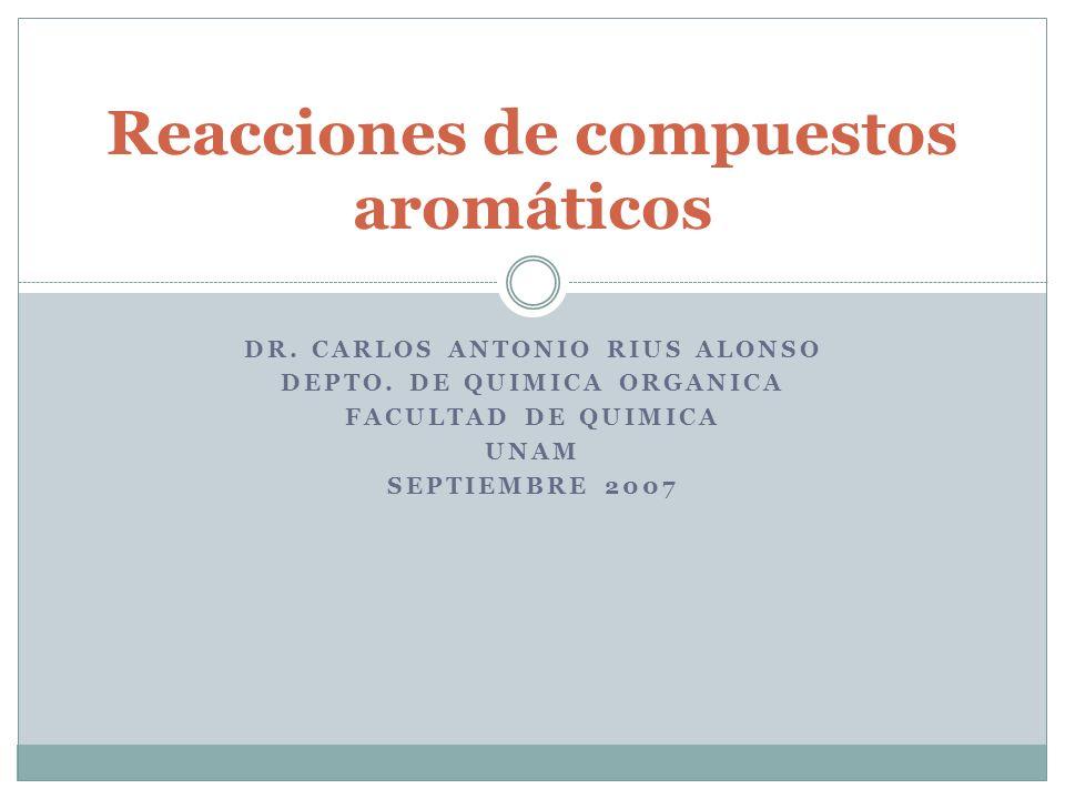 DR. CARLOS ANTONIO RIUS ALONSO DEPTO. DE QUIMICA ORGANICA FACULTAD DE QUIMICA UNAM SEPTIEMBRE 2007 Reacciones de compuestos aromáticos