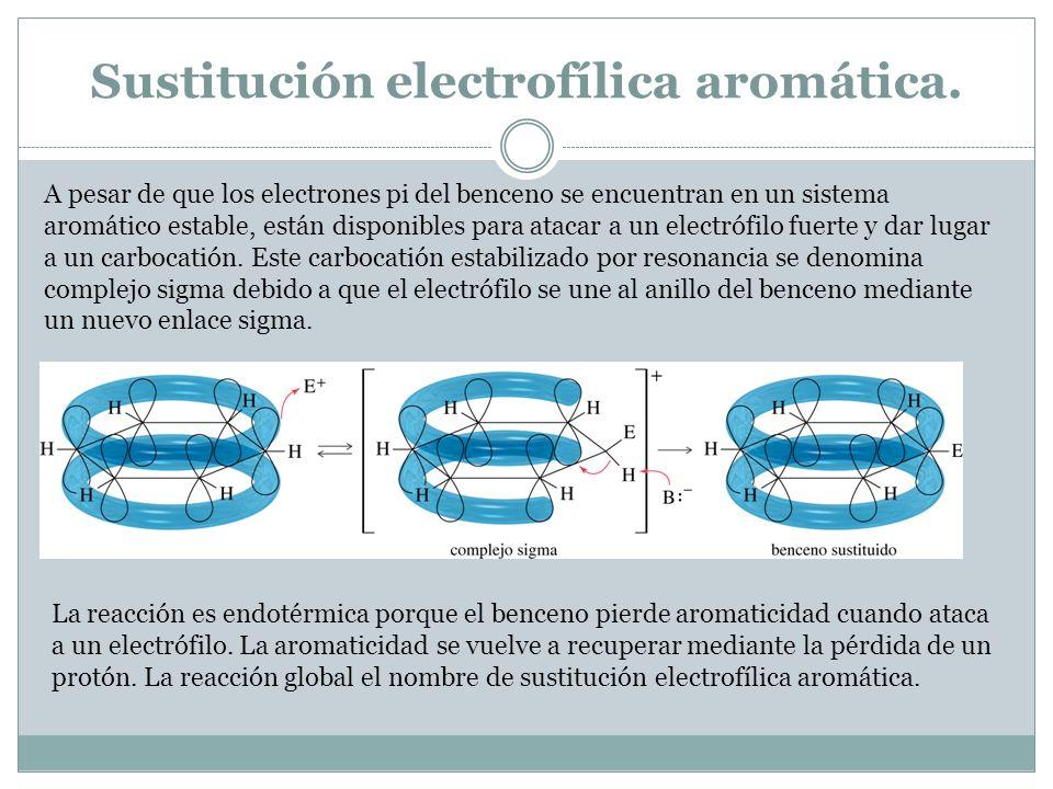 Sustitución electrofílica aromática. A pesar de que los electrones pi del benceno se encuentran en un sistema aromático estable, están disponibles par
