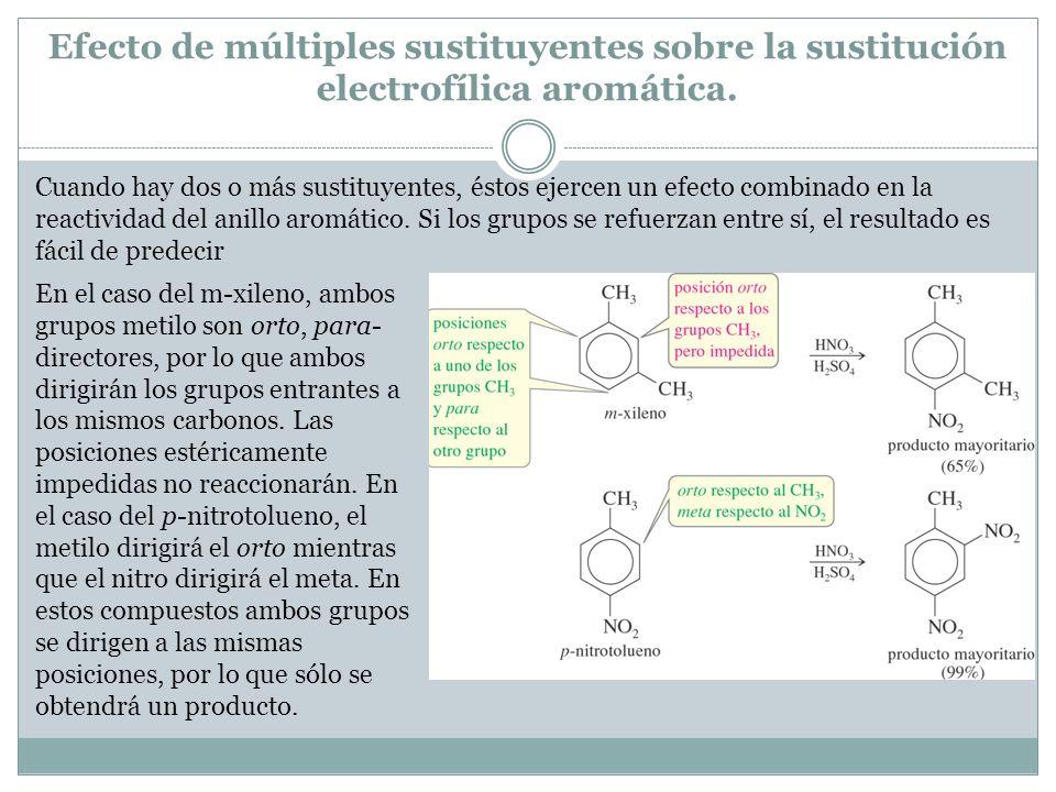 Efecto de múltiples sustituyentes sobre la sustitución electrofílica aromática. Cuando hay dos o más sustituyentes, éstos ejercen un efecto combinado