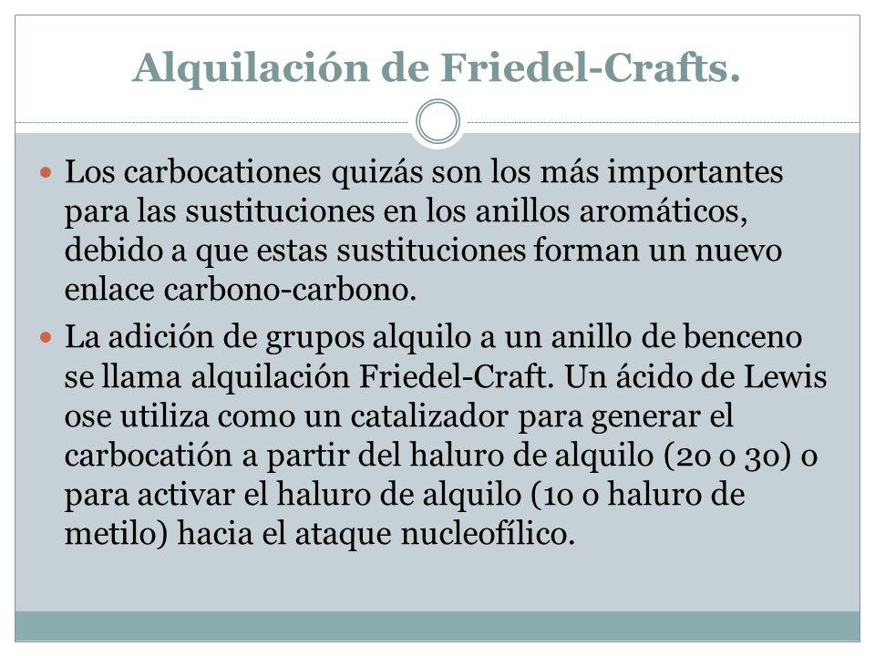 Alquilación de Friedel-Crafts. Los carbocationes quizás son los más importantes para las sustituciones en los anillos aromáticos, debido a que estas s