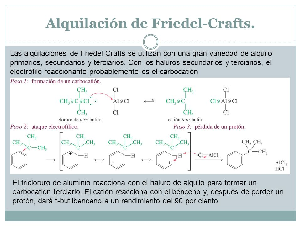 Las alquilaciones de Friedel-Crafts se utilizan con una gran variedad de alquilo primarios, secundarios y terciarios. Con los haluros secundarios y te
