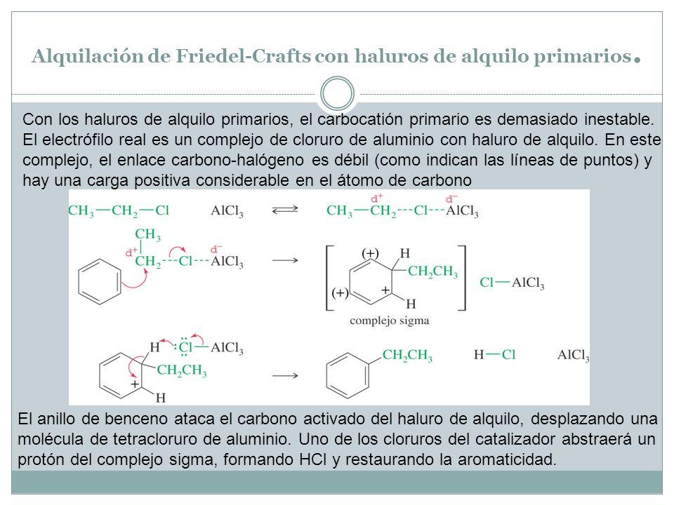 Alquilación de Friedel-Crafts con haluros de alquilo primarios. Con los haluros de alquilo primarios, el carbocatión primario es demasiado inestable.