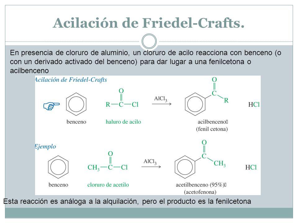 Acilación de Friedel-Crafts. En presencia de cloruro de aluminio, un cloruro de acilo reacciona con benceno (o con un derivado activado del benceno) p