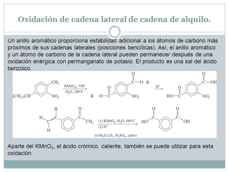 Oxidación de cadena lateral de cadena de alquilo. Un anillo aromático proporciona estabilidad adicional a los átomos de carbono más próximos de sus ca