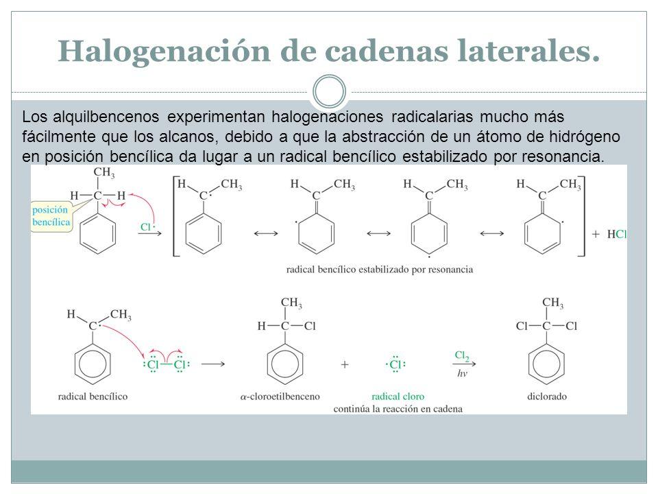 Halogenación de cadenas laterales. Los alquilbencenos experimentan halogenaciones radicalarias mucho más fácilmente que los alcanos, debido a que la a