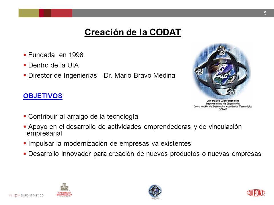 1/11/2014 DUPONT MÉXICO 5 Fundada en 1998 Dentro de la UIA Director de Ingenierías - Dr.