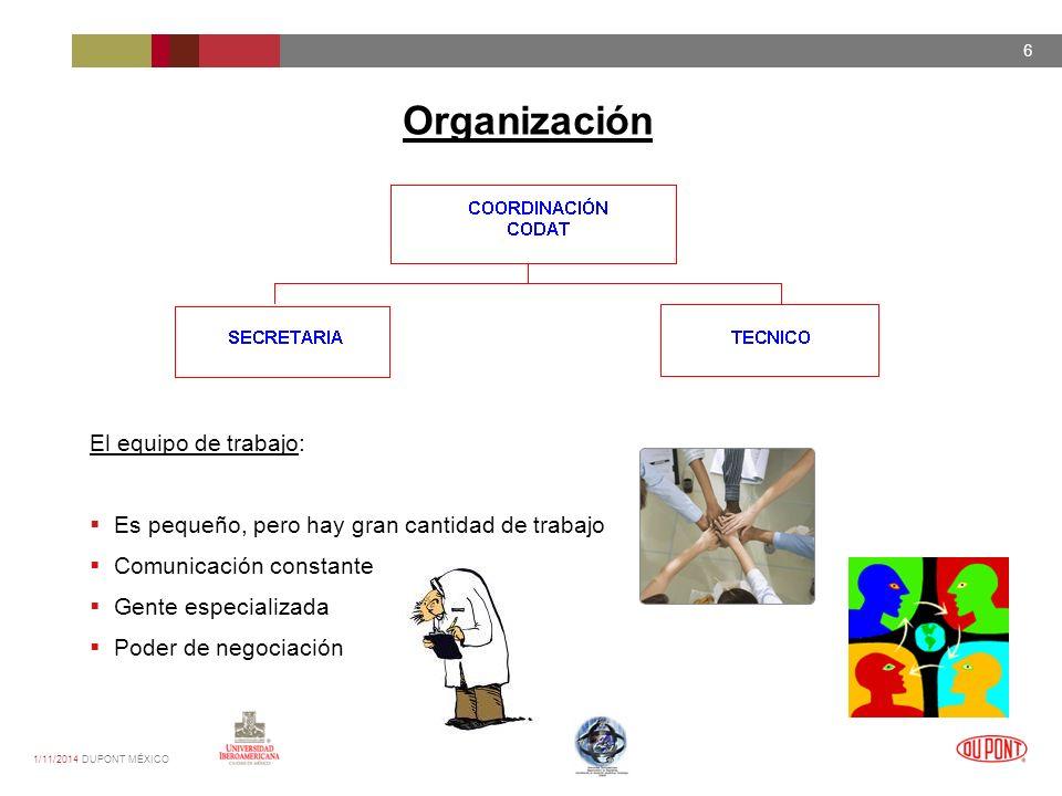 1/11/2014 DUPONT MÉXICO 6 Organización El equipo de trabajo: Es pequeño, pero hay gran cantidad de trabajo Comunicación constante Gente especializada Poder de negociación
