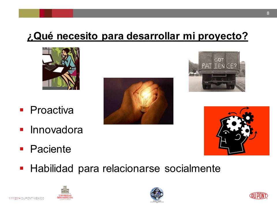 1/11/2014 DUPONT MÉXICO 8 ¿Qué necesito para desarrollar mi proyecto.