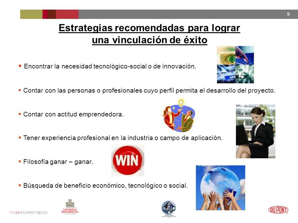 1/11/2014 DUPONT MÉXICO 9 Estrategias recomendadas para lograr una vinculación de éxito Encontrar la necesidad tecnológico-social o de innovación.