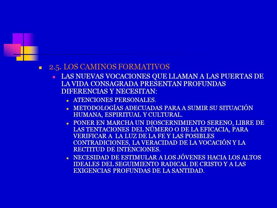 2.5. LOS CAMINOS FORMATIVOS LAS NUEVAS VOCACIONES QUE LLAMAN A LAS PUERTAS DE LA VIDA CONSAGRADA PRESENTAN PROFUNDAS DIFERENCIAS Y NECESITAN: ATENCION