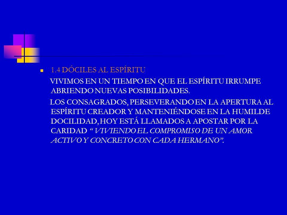 1.4 DÓCILES AL ESPÍRITU VIVIMOS EN UN TIEMPO EN QUE EL ESPÍRITU IRRUMPE ABRIENDO NUEVAS POSIBILIDADES. LOS CONSAGRADOS, PERSEVERANDO EN LA APERTURA AL