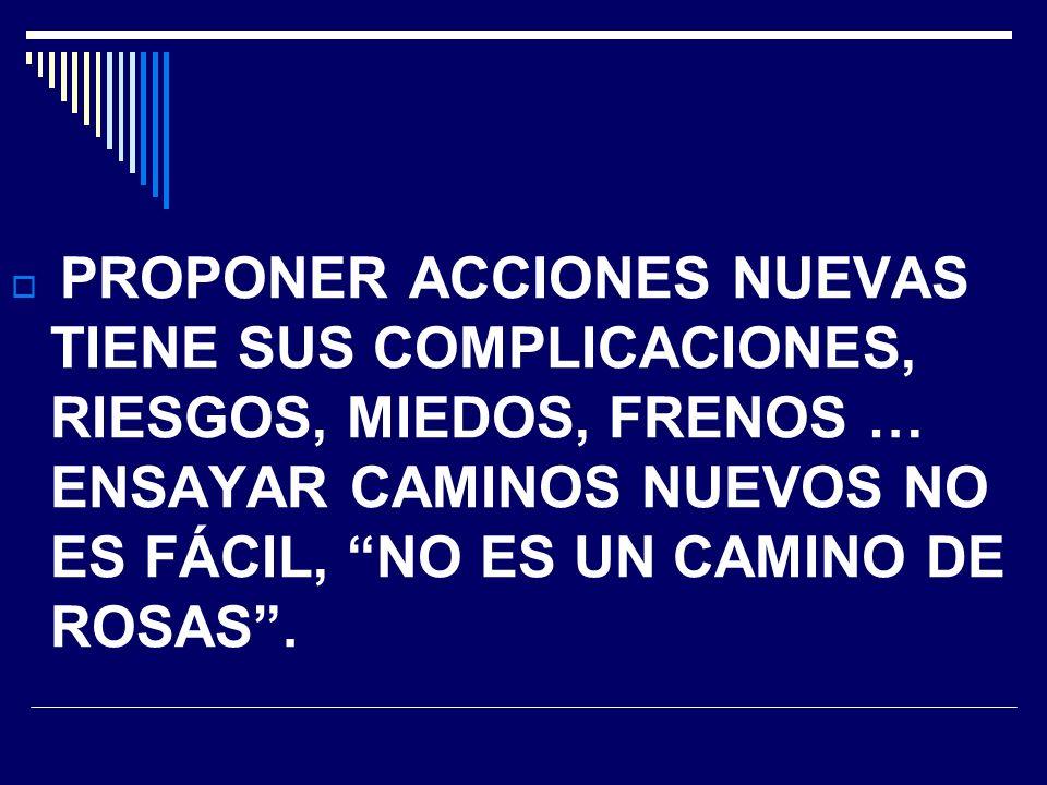 PROPONER ACCIONES NUEVAS TIENE SUS COMPLICACIONES, RIESGOS, MIEDOS, FRENOS … ENSAYAR CAMINOS NUEVOS NO ES FÁCIL, NO ES UN CAMINO DE ROSAS.