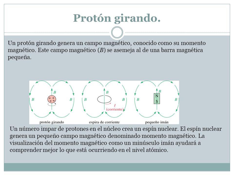 Protón girando. Un protón girando genera un campo magnético, conocido como su momento magnético. Este campo magnético (B) se asemeja al de una barra m