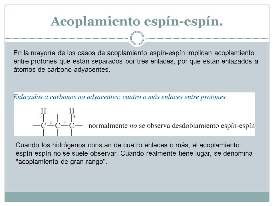 Acoplamiento espín-espín. En la mayoría de los casos de acoplamiento espín-espín implican acoplamiento entre protones que están separados por tres enl