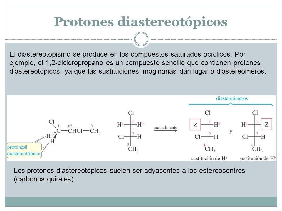 Protones diastereotópicos El diastereotopismo se produce en los compuestos saturados acíclicos. Por ejemplo, el 1,2-dicloropropano es un compuesto sen