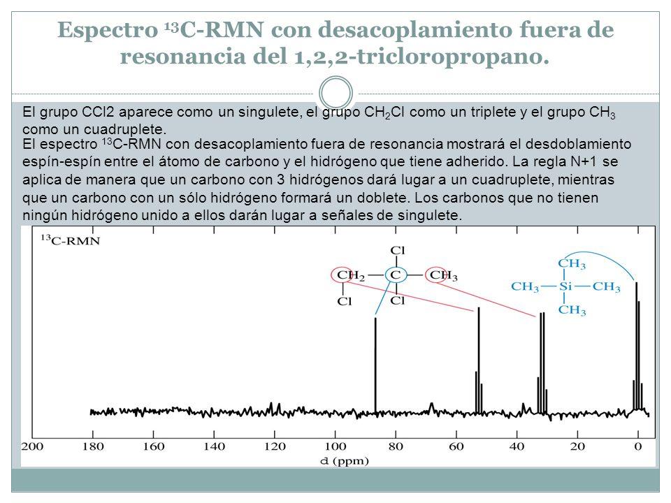 Espectro 13 C-RMN con desacoplamiento fuera de resonancia del 1,2,2-tricloropropano. El grupo CCl2 aparece como un singulete, el grupo CH 2 Cl como un