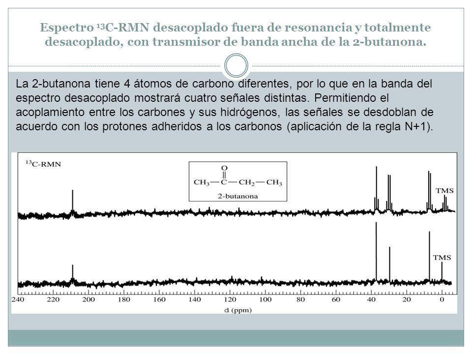 Espectro 13 C-RMN desacoplado fuera de resonancia y totalmente desacoplado, con transmisor de banda ancha de la 2-butanona. La 2-butanona tiene 4 átom