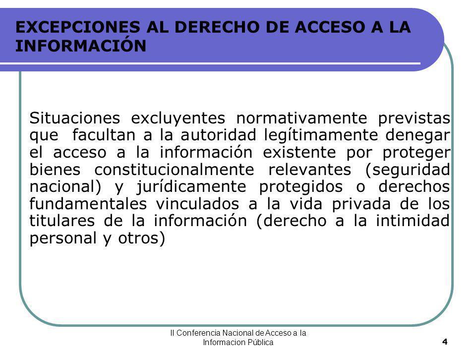 II Conferencia Nacional de Acceso a la Informacion Pública15 INFORMACIÓN CONFIDENCIAL Secreto Bursátil Información sobre operaciones con valores en bolsa o mecanismos centralizados (Ley Mercado de Valores, art.