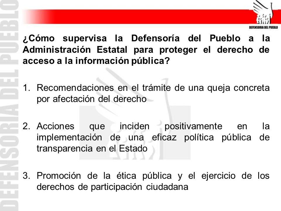¿Cómo supervisa la Defensoría del Pueblo a la Administración Estatal para proteger el derecho de acceso a la información pública.