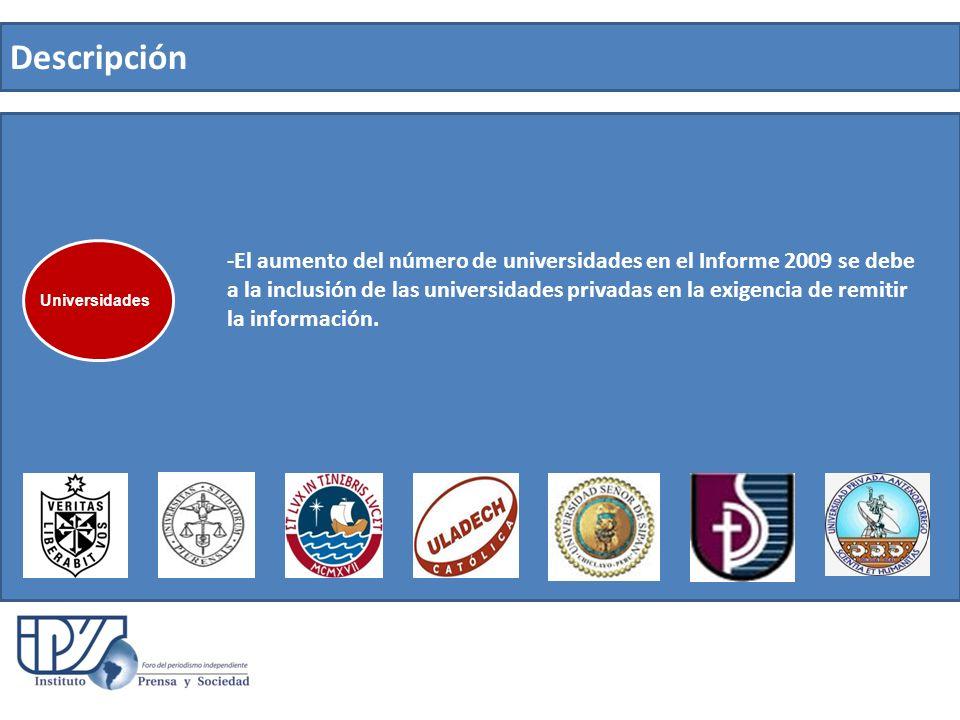 Descripción -El aumento del número de universidades en el Informe 2009 se debe a la inclusión de las universidades privadas en la exigencia de remitir la información.