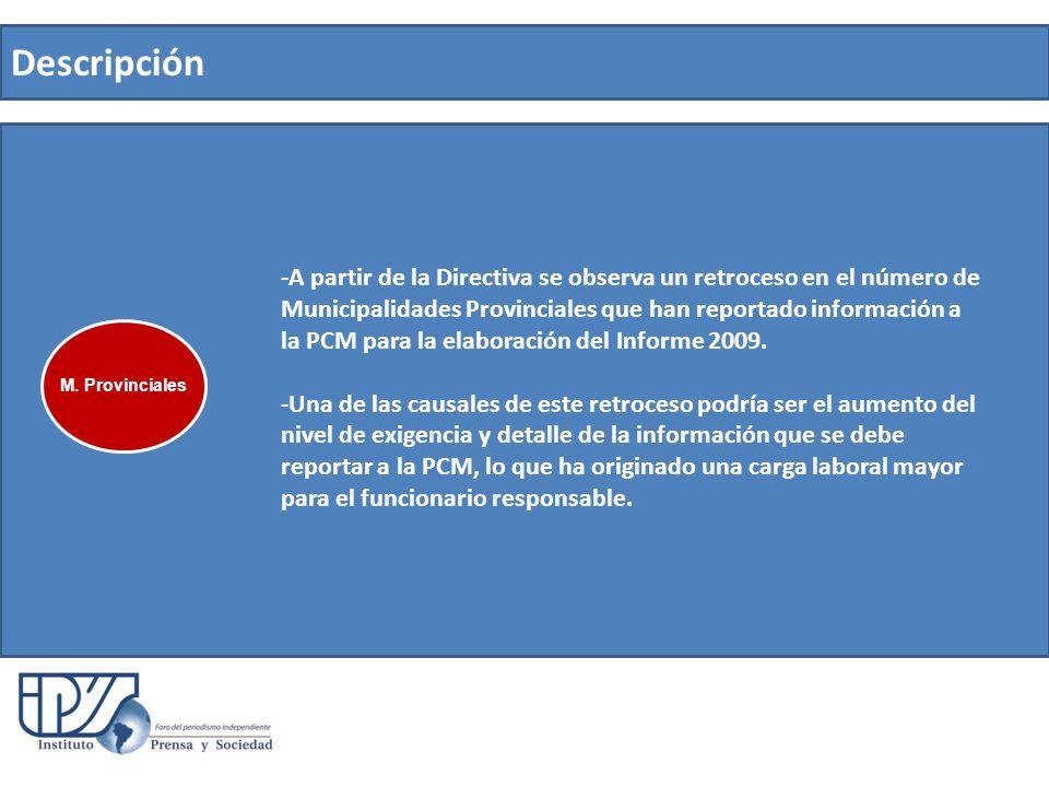 Descripción -A partir de la Directiva se observa un retroceso en el número de Municipalidades Provinciales que han reportado información a la PCM para la elaboración del Informe 2009.