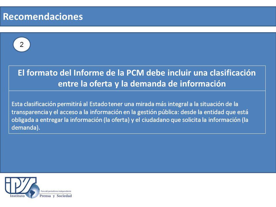 Recomendaciones El formato del Informe de la PCM debe incluir una clasificación entre la oferta y la demanda de información Esta clasificación permiti