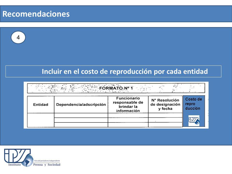 Recomendaciones 4 Incluir en el costo de reproducción por cada entidad Costo de repro ducción