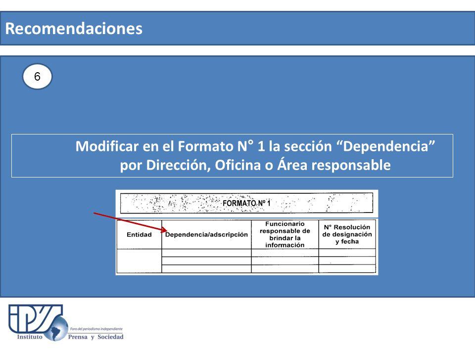 Recomendaciones 6 Modificar en el Formato N° 1 la sección Dependencia por Dirección, Oficina o Área responsable