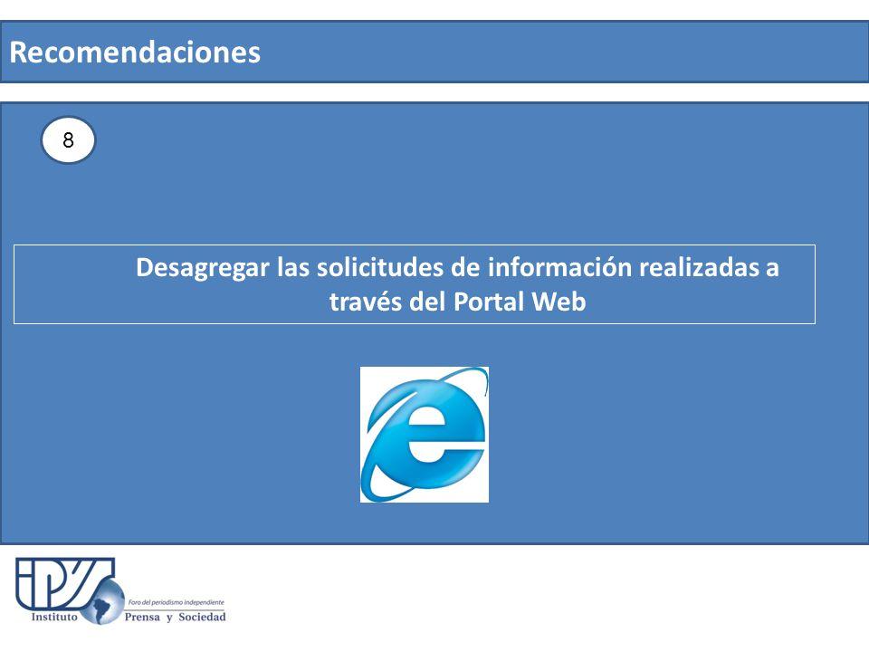 Recomendaciones 8 Desagregar las solicitudes de información realizadas a través del Portal Web