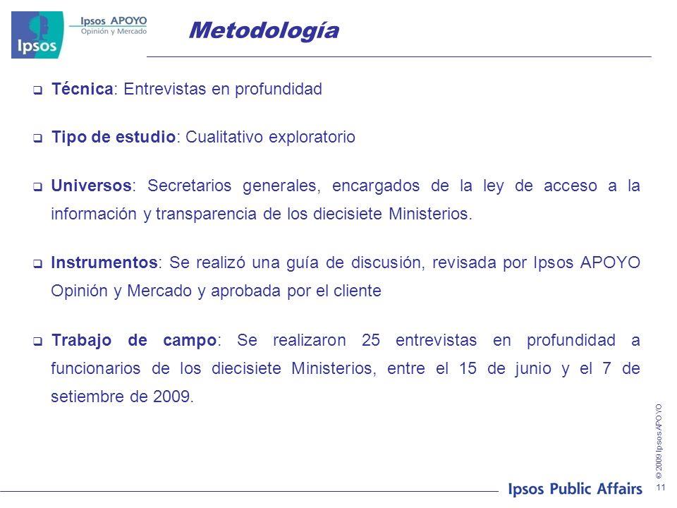 © 2009 Ipsos APOYO 11 Metodología Técnica: Entrevistas en profundidad Tipo de estudio: Cualitativo exploratorio Universos: Secretarios generales, enca