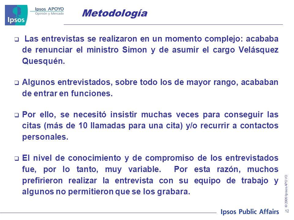 © 2009 Ipsos APOYO 12 Metodología Las entrevistas se realizaron en un momento complejo: acababa de renunciar el ministro Simon y de asumir el cargo Velásquez Quesquén.