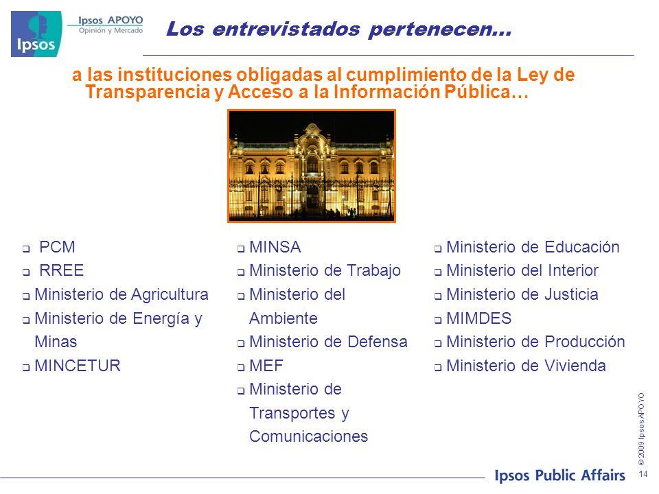 © 2009 Ipsos APOYO 14 Los entrevistados pertenecen... PCM RREE Ministerio de Agricultura Ministerio de Energía y Minas MINCETUR Ministerio de Educació