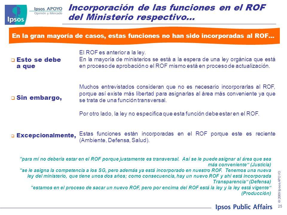 © 2009 Ipsos APOYO 25 Incorporación de las funciones en el ROF del Ministerio respectivo… En la gran mayoría de casos, estas funciones no han sido incorporadas al ROF… El ROF es anterior a la ley.