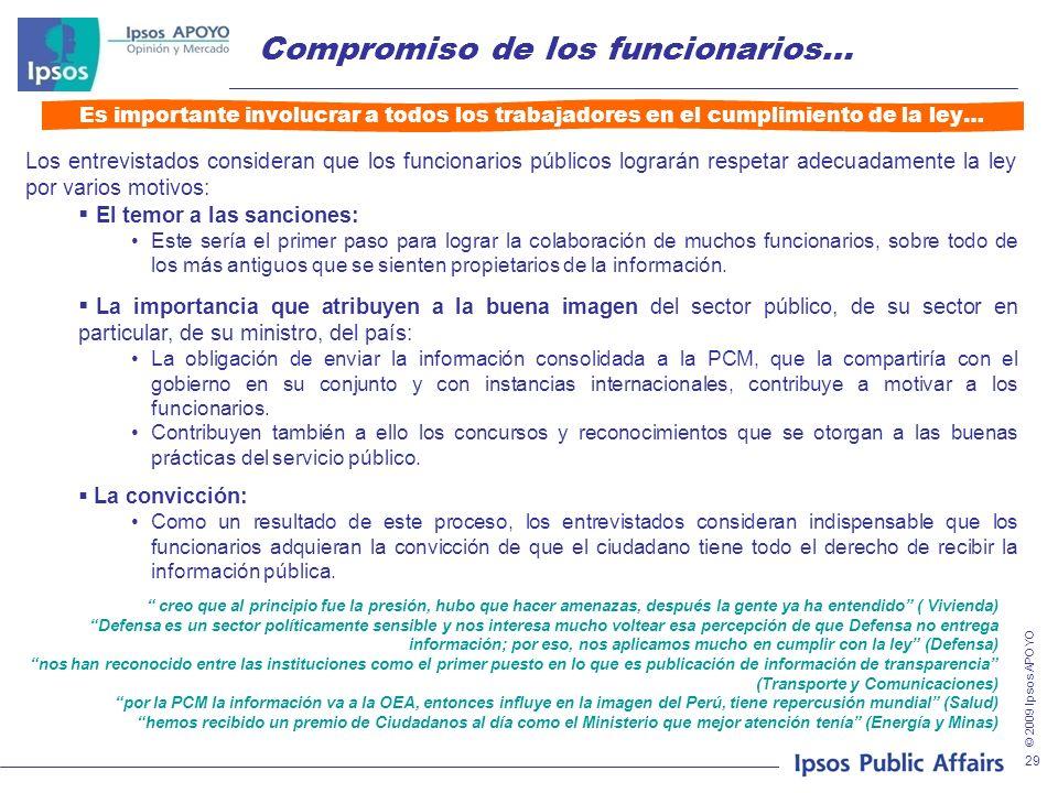 © 2009 Ipsos APOYO 29 Compromiso de los funcionarios… Es importante involucrar a todos los trabajadores en el cumplimiento de la ley… Los entrevistado