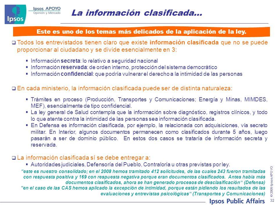 © 2009 Ipsos APOYO 32 La información clasificada… Todos los entrevistados tienen claro que existe información clasificada que no se puede proporcionar